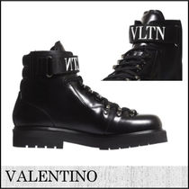 VALENTINO Plain Toe Street Style Plain Leather Chukkas Boots