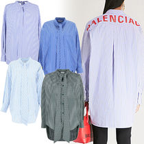 BALENCIAGA Stripes Long Sleeves Cotton Long Shirts & Blouses
