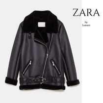 ZARA Unisex Street Style Plain Leather Medium Biker Jackets