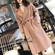 Other Check Patterns Medium Elegant Style Wrap Coats