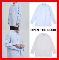 OPEN THE DOOR Casual Style Unisex Street Style Cotton Shirts & Blouses