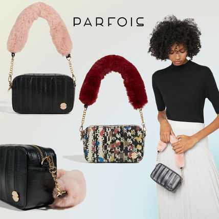 9fa223f69d5b ... PARFOIS Shoulder Bags Casual Style Faux Fur Blended Fabrics 3WAY Chain  Plain ...