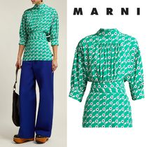 MARNI Flower Patterns Casual Style Cropped Medium Shirts & Blouses