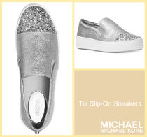 Michael Kors Round Toe Rubber Sole Casual Style Street Style