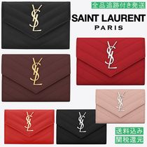 Saint Laurent ENVELOPPE Monogram Unisex Calfskin Bold Folding Wallets