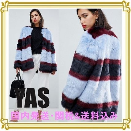 Short Stripes Casual Style Faux Fur Blended Fabrics Coats