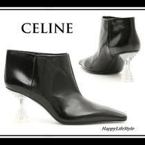 CELINE Square Toe Plain Leather Elegant Style Ankle & Booties Boots