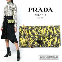 PRADA Tropical Patterns Chain Leather Long Wallets