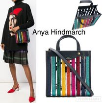 Anya Hindmarch Stripes Casual Style Crystal Clear Bags Totes