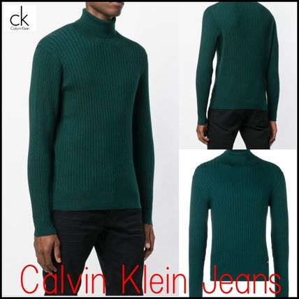 Calvin Klein Knits & Sweaters Street Style Long Sleeves Plain Cotton Oversized