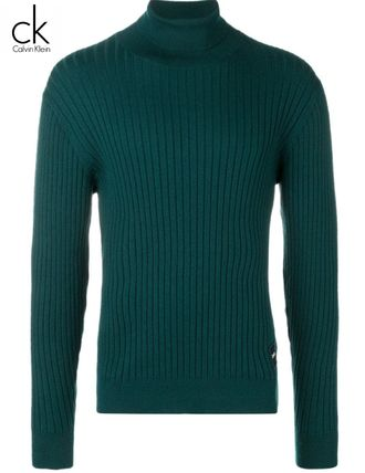 Calvin Klein Knits & Sweaters Street Style Long Sleeves Plain Cotton Oversized 3