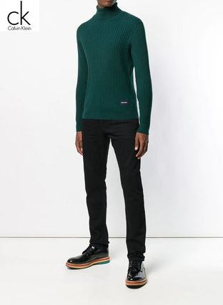 Calvin Klein Knits & Sweaters Street Style Long Sleeves Plain Cotton Oversized 4