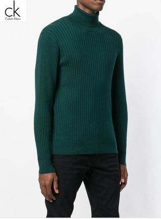Calvin Klein Knits & Sweaters Street Style Long Sleeves Plain Cotton Oversized 5