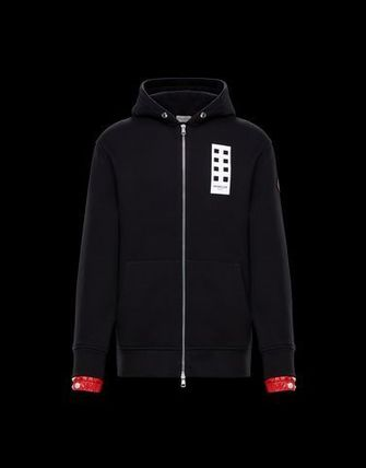 MONCLER Hoodies Long Sleeves Cotton Logos on the Sleeves Hoodies