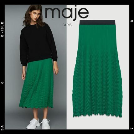 Casual Style Pleated Skirts Long Midi Maxi Skirts