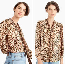 J Crew Leopard Patterns Long Sleeves Shirts & Blouses