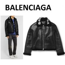 BALENCIAGA Blended Fabrics Leather Biker Jackets