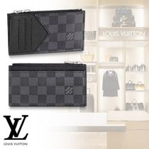 Louis Vuitton DAMIER GRAPHITE Other Check Patterns Leather Coin Cases