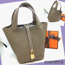 HERMES Picotin Plain Leather Halloween Elegant Style Bags