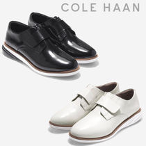Cole Haan Round Toe Rubber Sole Casual Style Plain Leather