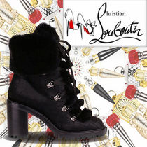 Christian Louboutin Mountain Boots Round Toe Casual Style Fur Blended Fabrics