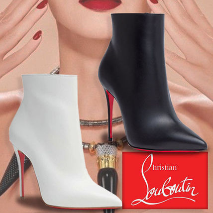 4f123220254 ... Christian Louboutin Ankle   Booties Plain Leather Pin Heels Elegant  Style Ankle   Booties ...
