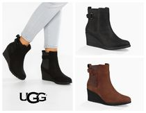 UGG Australia Plain Leather Wedge Boots