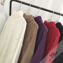 Cable Knit Wool Street Style Long Sleeves Plain Oversized