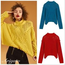 ELF SACK Cable Knit Short Casual Style Street Style Long Sleeves