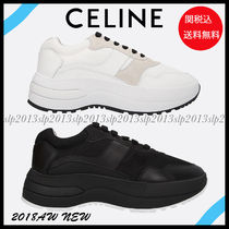 CELINE Blended Fabrics Plain Leather Elegant Style Low-Top Sneakers