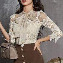 Cropped Plain Medium Lace Elegant Style Shirts & Blouses