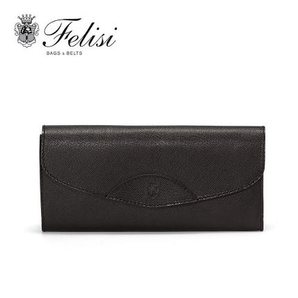 Unisex Plain Leather Folding Wallets
