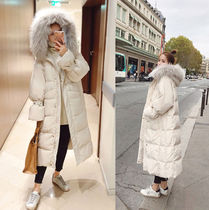 Casual Style Plain Long Oversized Parkas