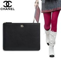 CHANEL Bag in Bag 2WAY Plain Leather Elegant Style Clutches