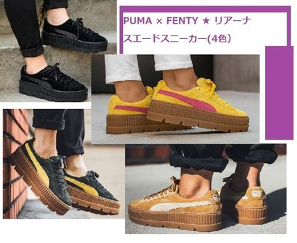 PUMA Low-Top Rubber Sole Suede Plain Low-Top Sneakers