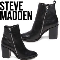 Steve Madden Plain Leather Block Heels Office Style Ankle & Booties Boots