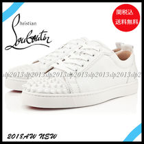 Christian Louboutin LOUIS Blended Fabrics Studded Plain Leather Sneakers