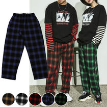 Printed Pants Glen Patterns Unisex Street Style Cotton