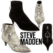 Steve Madden Plain Leather Elegant Style Ankle & Booties Boots