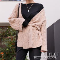 Cable Knit Casual Style Long Sleeves Medium Gowns Oversized
