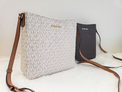 Monogram Casual Style Leather Crossbody Logo Shoulder Bags