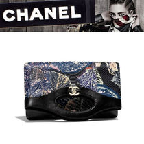 CHANEL Blended Fabrics Leather Python Elegant Style Clutches
