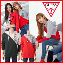 Guess Unisex Collaboration Long Sleeves Cotton Hoodies
