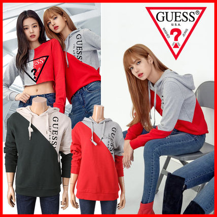 Guess Hoodies Unisex Collaboration Long Sleeves Cotton Hoodies
