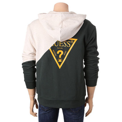 Guess Hoodies Unisex Collaboration Long Sleeves Cotton Hoodies 9