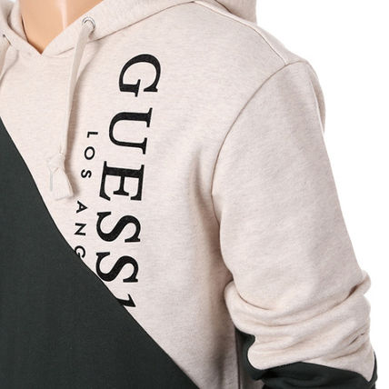 Guess Hoodies Unisex Collaboration Long Sleeves Cotton Hoodies 11