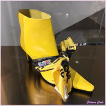 Off-White Plain Leather Pin Heels Elegant Style Ankle & Booties Boots