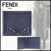 FENDI BAG BUGS Calfskin Plain Folding Wallets
