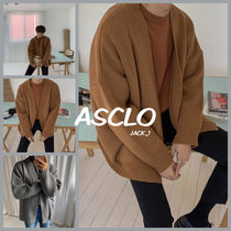 ASCLO Cable Knit Wool Street Style Long Sleeves Plain