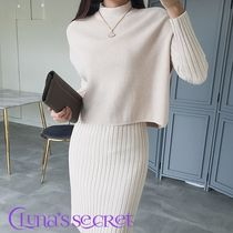 Tight U-Neck Long Sleeves Plain Medium Elegant Style Dresses